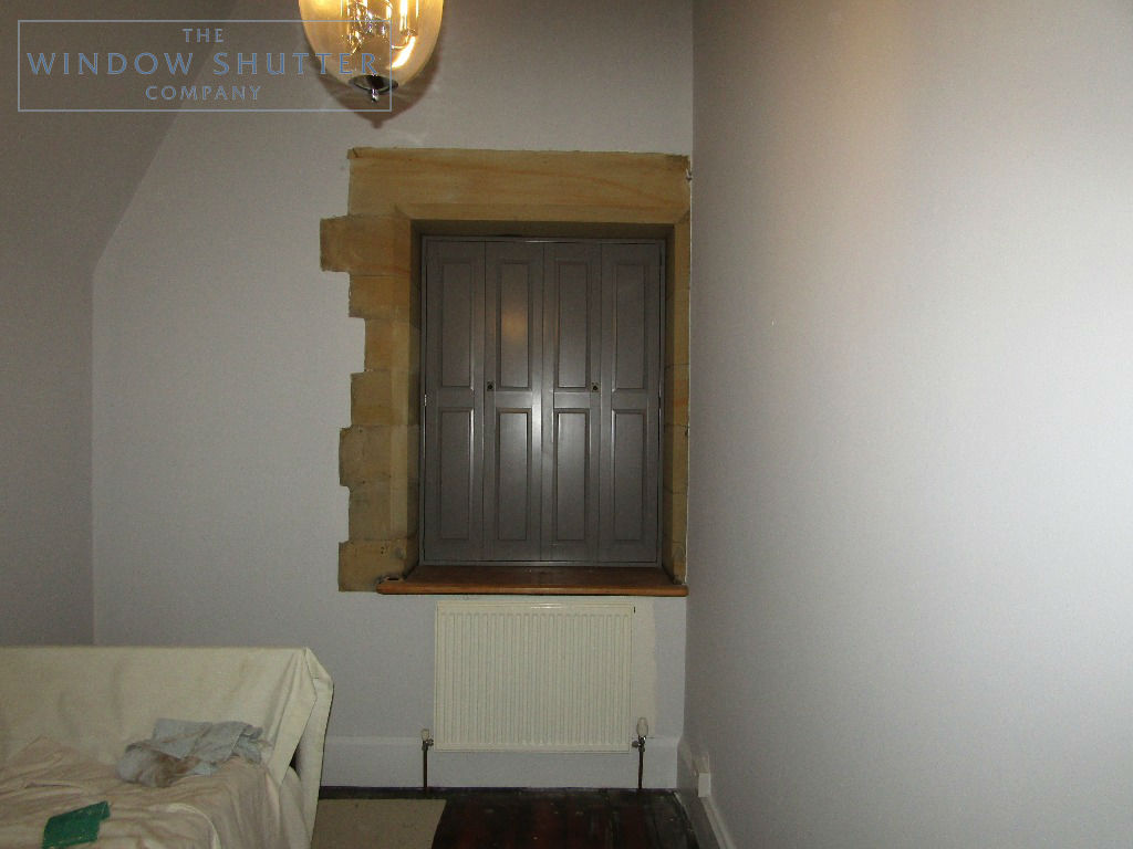 Solid shutters Boston premium hardwood mid-rail coloured period property East Grinstead Sussex 0319 after closed