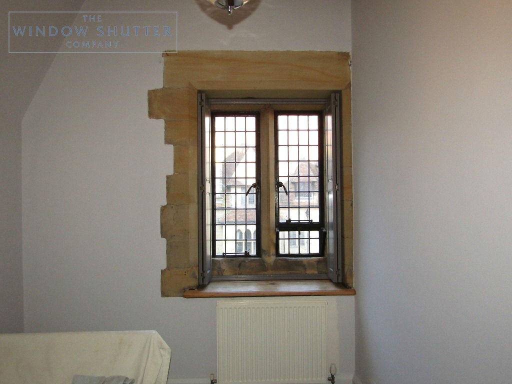 Solid shutters Boston premium hardwood mid-rail coloured period property East Grinstead Sussex 0319 after open