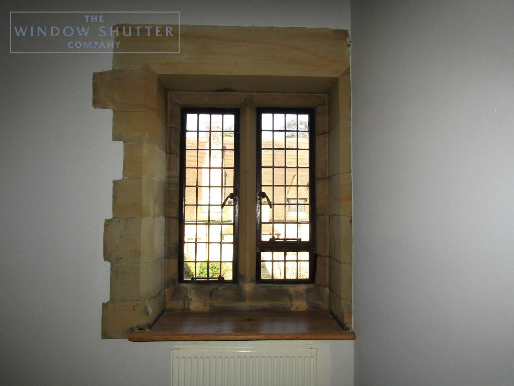 Solid shutters Boston premium hardwood mid-rail coloured period property East Grinstead Sussex 0319 before